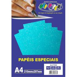 Papel A4 Azul Neon Glitter...